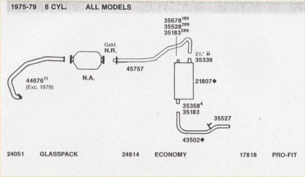 1975+ 6 cylinder exhaust