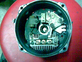 Alternator - problems and diagnosis - internal parts identified