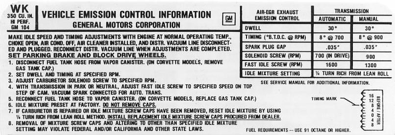 Click to view 1973 Z28 emission label full size