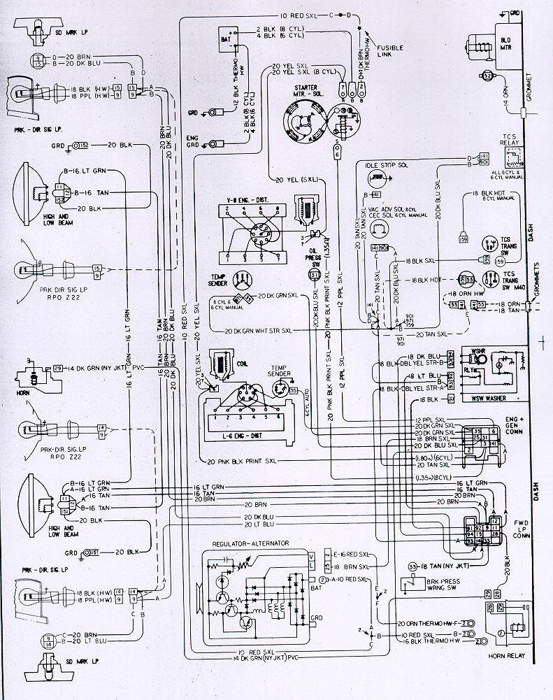 1973 Camaro Engine  U0026 Forward Light Wiring Schematic