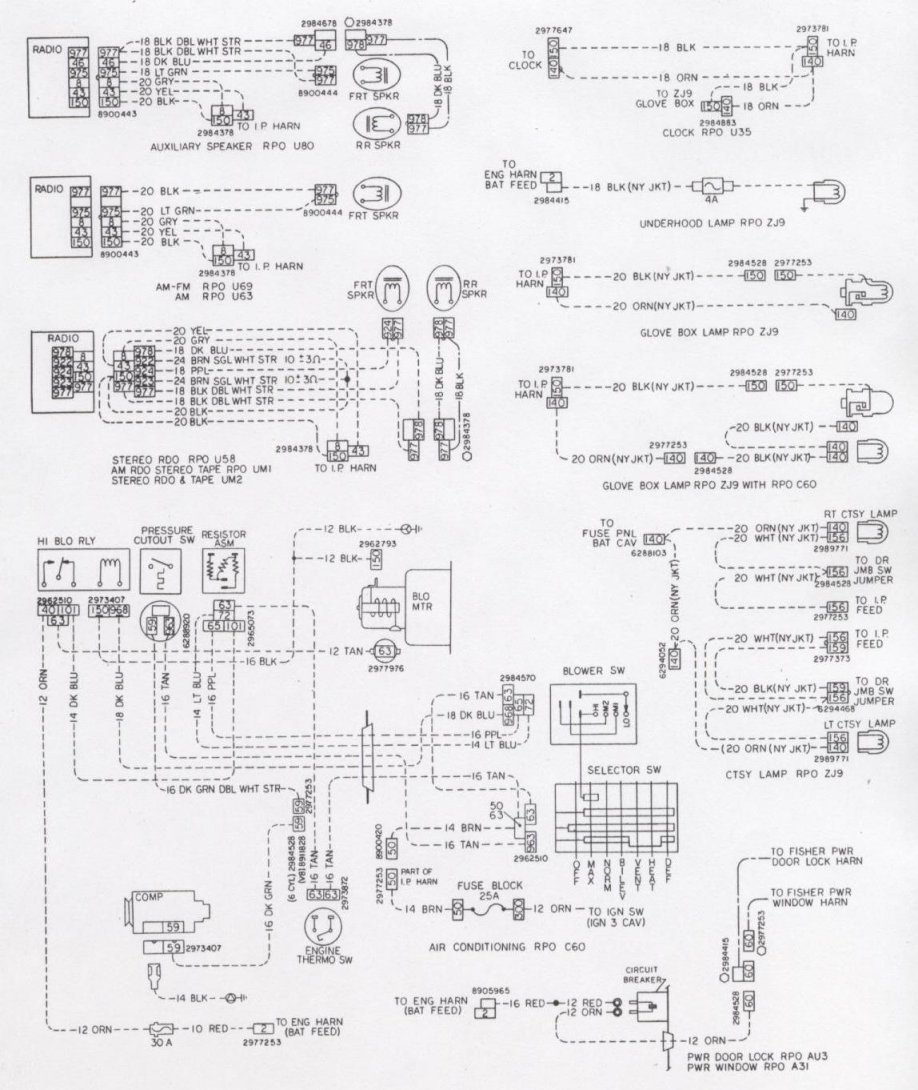 76w opt camaro wiring & electrical information Jeep Power Door Lock Wiring Diagram at bakdesigns.co