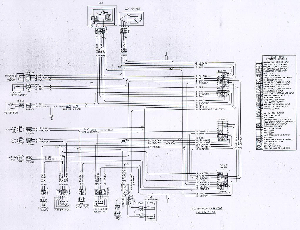 Camaro Wiring Electrical Information 68 Corvette Dash Diagram Free Download Closed Loop Carb Ecm