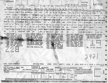 Vehicle Build Sheet itemizing RPO codes